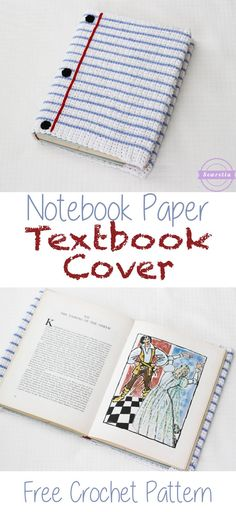 Back to school! Make this book cover with 24/7 Cotton! Get the pattern: Notebook Paper Crochet Textbook Cover by Sewrella.