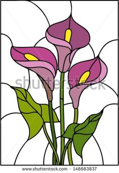 Pink flowers bouquet - Calla lily, vector illustration in stained glass window