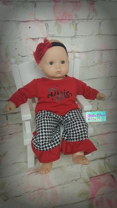 c6a84b4b6 Baby Doll Clothes fit 15 inch like Bitty Baby doll, American Made, Girl,  Paris, Red, Black, Houndstooth, Ruffled outfit, Headband