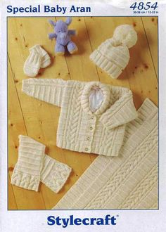 Jacket, Scarf, Hat, Mittens & Blanket in Stylecraft Baby Aran - 4854. Discover more Patterns by Stylecraft at LoveKnitting. The world's largest range of knitting supplies - we stock patterns, yarn, needles and books from all of your favourite brands.