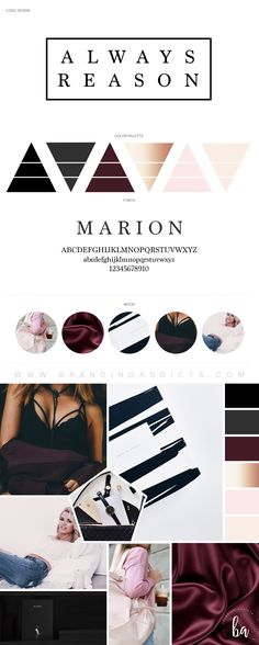 Fashion Boutique Branding. Maroon, burgundy, wine, copper, rose gold, blush pink. Millennials, romance, sexy, edgy, fashion, clothing. These deep moody tones give of a vibe of luxurious temptation. Professional Business Branding by Designer Laine Napoli. Web Design, Logo, Mood Board, Brand Boards, and more.