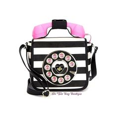 Betsey Johnson Call Me Baby Pink & Black Phone Crossbody Bag Purse Handset NWT  #BetseyJohnson #MessengerCrossBodyShoulder