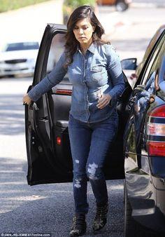 Kourtney Kardashian wearing Hermes Tassel Keychain in Black, Chloe Suzanna Booties,  Beverly Hills October 23 2013