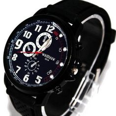 awesome Military Aviator Army Style Silicone Men Outdoor Watch Black - For Sale