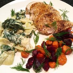 Roasted Chicken & Veggies.So simple and so delish!I used seasoned salt and sumac to spice up the air-chilled chicken.We added a little balsamic and fresh dill to the roasted carrots and beets.Then we sautéed spinach with artichoke hearts, green onions and a little goat cheese.So yummy, colorful, super clean and healthful! #eattherainbow #roastedveggies #easydinner #organic #foodblogger #austin360cooks #whatsfordinner #feedfeed #OrganicMoments #nourisheverybody @pacificfoods…