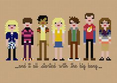 Pixel People The Big Bang Theory PDF Cross by weelittlestitches