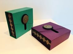 Slider Opening Gift Box - Video Tutorial using Moroccan Nights by Stampin' Up - YouTube