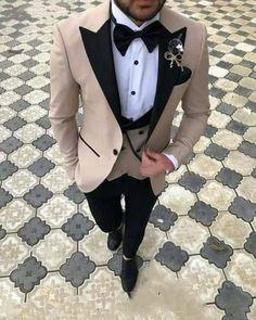 Champagne Peak Lapel Blazer Suit Groom Wedding Prom Suits Tuxedo three Pieces (Jacket +pants +vest) - The day - Wedding Dress Men, Wedding Men, Wedding Groom, Wedding Suits, Slim Fit Tuxedo, Tuxedo For Men, Tuxedo Vest, Mens Fashion Suits, Mens Suits