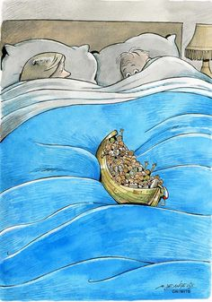 Yes, we're here and we're going to disrupt your sleep. Cartoon by Marco De Angelis, #refugee #Syria