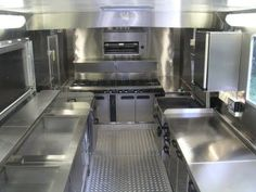 inside food truck with cooker at end