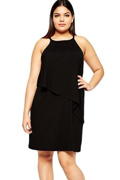 Black Plus Size Curve Tiered Swing Dress Plus Size Womens Clothing e928fe645320