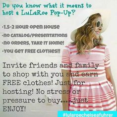 Happy Monday!! It is a gorgeous morning so far! New inventory arrives tomorrow plus a couple of awesome events happening this week should be great!   I have a couple open spots for either an online or in home party for April and May. If you would like to host please pm me or comment below so I can pm you.   #lularoeparty #newinventory #happymonday #hostessrewards #freeclothes #onlineshopping #inhome #springfashion