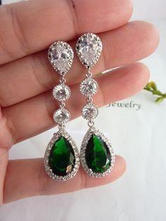 Wedding Bridal Earring Long LARGE Halo Emerald by JCBridalJewelry, $62.00