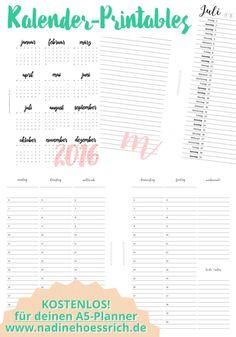 Organizer/Planner Kalender 2016 A5 free printables | nadinehoessrich.de
