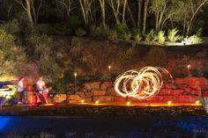 Fire twirlers in the Red Centre Garden for Enlighten - Luminous Botanicus 2015.