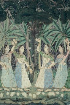 Pichhvai depicting a dense forest scene, gopi's looking for Krishna, 305 cm by 206 cm.