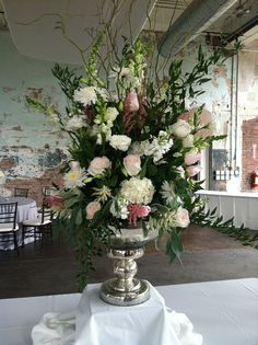 Food table Centerpiece - Silver pedestal bowl - curly willow, ruscus, snapdragons, hydrangeas, roses, lisianthus, mums, lambs ear & seeded eucalyptus. | Flickr - Photo Sharing!