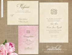 Watercolor Wedding Collection with Beautiful Monogram - Shown in ivory, gold and pink washes but can be customized to any color - Invitation, Response Card, Enclosure Card - Design for Printed Invitations with FREE SHIPPING - Your wedding style. Your words. Your moments.