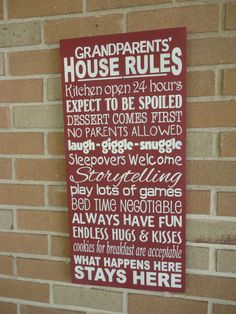 Grandparents' House Rules, Typography Hand Painted Wood Sign, Housewares, Home Decor, Grandparents, Personalize