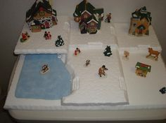 making accessories for christmas villages Christmas Scenery, Christmas Village Display, Christmas Town, Christmas Villages, Vintage Christmas, Christmas Holidays, Christmas Crafts, Christmas Decorations, Christmas Recipes