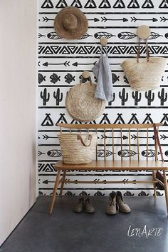 Boho Minimalist  - Black and White - Boho Pattern - Removable Wallpaper - Wall Decor - Wall Covering - Wall Decal - Wall Mural -Sticker- 109
