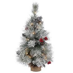 Vickerman Frosted Mix Berry Pine Artificial Christmas Tree with 35 Clear Lights 24 x 14 ** You can get additional details at the image link.
