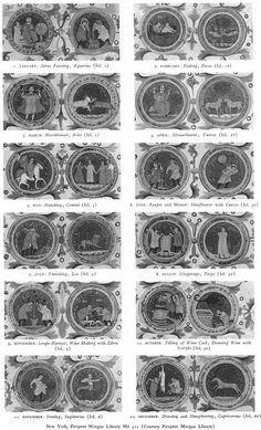 Months and Zodiac Signs from manuscript Morgan M.511 Bologna, 1310 ca