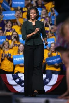 First Lady Michelle Obama arrives for a rally at the McLeod Center on the campus of the University of Northern Iowa in Cedar Falls.