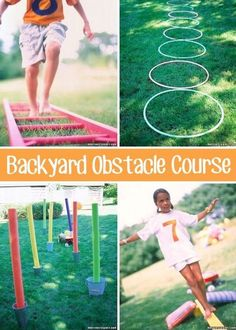 32 Fun DIY Backyard Games To Play (for kids & adults!) 32 Of The Best DIY Backyard Games You Will Ever Play - I wonder if I'm creative enough to come up with something like this. Backyard Obstacle Course, Kids Obstacle Course, Backyard Party Games, Backyard For Kids, Lawn Games, Pool Backyard, Backyard Kitchen, Garden Kids, Pool Games