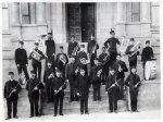 Photograph from between 1900-1909.  Likely of the San Luis Obispo Military Band or the San Luis Obispo Municipal Band.  (History Center of San Luis Obispo County)