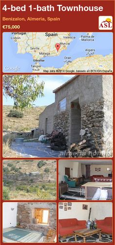 Townhouse for Sale in Benizalon, Almeria, Spain with 4 bedrooms, 1 bathroom - A Spanish Life Murcia, Valencia, Portugal, Slate Flooring, Rustic Farmhouse, Townhouse, Mansions, Bathroom, House Styles