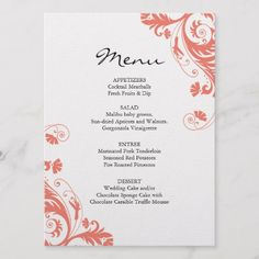 Shop Coral Wedding Menu created by colourfuldesigns. Wedding Desserts, Wedding Menu, Wedding Cakes, Scroll Wedding Invitations, Wedding Invitation Design, Cocktail Meatballs, Chocolate Sponge Cake, Marinated Pork Tenderloins, Fresh Fruit