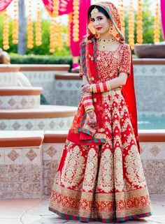 End to End Customization with Hand Embroidery & beautiful Zardosi Art by Expert & Experienced Artist That reflect in Blouse , Lehenga & Sarees Designer creativity that will sunshine You & your Party Worldwide Delivery. Wedding Lehnga, Indian Wedding Bride, Indian Bridal Lehenga, Indian Bridal Wear, Punjabi Wedding, Indian Sarees, Indian Wear, Bridal Outfits, Bridal Dresses