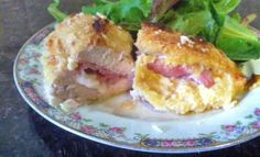 Chicken Cordon Bleu - 375 - cut pocket in chix breast and spread dijon & mayo inside - wrap one slice prov or swiss cheese, rolled up into thin log, with 2 slices ham, securing so chs doesn't melt out - place inside pocket of chix breast - dredge breast through beaten egg and then seasoned flour - back in Pam'd baker for 45-50 mins