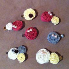 Rosette hair clips. $6 each. allthingsnew215.blogspot.com