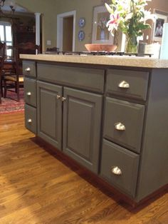 Annie Sloan Chalk Paint - perfect for kitchen cabinets, islands, bathroom vanities, and various pieces of furniture. Add water to make it smooth. Keep the lid off to thicken it up. And if you just want a wash, add more water. Use flat brushes for a smooth look or bristle brushes for a more textured aged look.