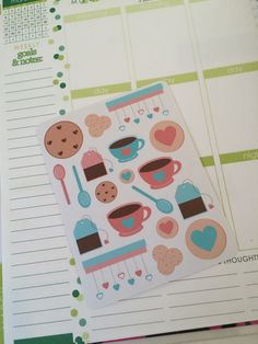 Tea and Cookies Stickers for your Erin Condren Life Planner, Plum Paper Planner, Filofax, and more!