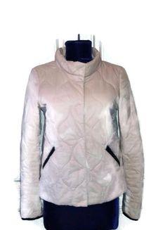 89731a90089c6 Vintage italian cream jacket with leather Sisley Retro cropped jacket