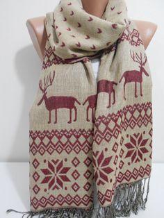 Nordic Scarf Shawl, Snowflake Cowl Scarf, Beige burgundy scarf, deer print men scarf, unisex scarf, Women Fashion Scarf, For Her, ScarfClub