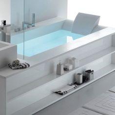 Whirlpool Corian® bathtub SENSUAL 250 By Gruppo Geromin design Franco Bertoli Bathtub Shower Combo, Bathroom Tub Shower, Bathroom Renos, Modern Bathtub, Bathtub Remodel, Bathroom Interior Design, Bathroom Inspiration, House Design, Comfort