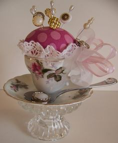 pretty tea cup pincushion