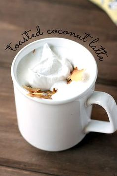 Vegan Toasted Coconut Latte - Sweet, frothy, and comforting! Sugar-free and so simple. | love me, feed me
