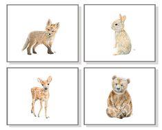 Woodland Nursery Art Forest Animal Painting Baby Animal Print Animal Watercolor Childrens Room  Bear Cub Deer Fawn Fox Bunny Rabbit Set of 4