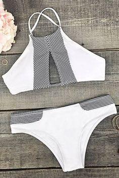 Cupshe Made the Cut Stripe Splicing Bikini Set