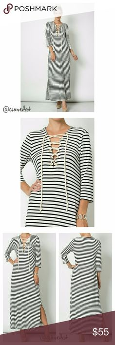 """Black & White Stripe Lace Up Maxi Dress Amazing style and quality Maxi dress, 3/4 sleeve length, side leg slit, black and white stripe, soft and amazingly comfortable! Super cute look for any season!  95% Rayon/5% Spandex   SMALL Bust 36"""", Waist 40"""", Length 44"""" MEDIUM Bust 37"""", Waist 42"""", Length 45""""  PRICE IS FIRM UNLESS BUNDLED boutique Dresses Maxi"""