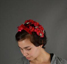 Vintage 1950s Hat 50s Fascinator Fl Velvet Bow Red Pearl