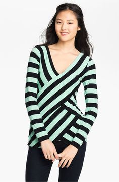 Vince Camuto Stripe Bandage V-Neck Top available at #Nordstrom