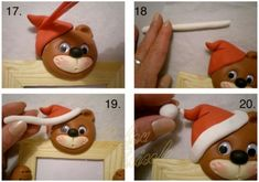 step by step Christmas Bear Fondant Figures, Clay Figures, Fondant Cakes, Cupcake Cakes, Christmas Clay, Christmas Animals, Christmas Ornaments, Photo Ours, Cake Topper Tutorial