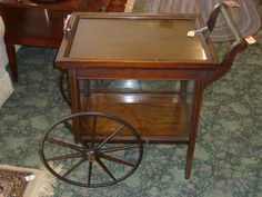 Antique Tea Tray w/Removable Glass Top & Glass Door