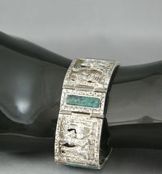 Peruvian 925 Silver Panel Bracelet 3 Dimensional Carved Hammered Chrysocolla